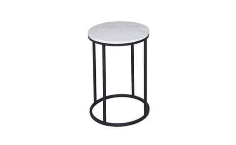GillmoreSPACE Circular Side Table - Kensal MARBLE with BLACK base