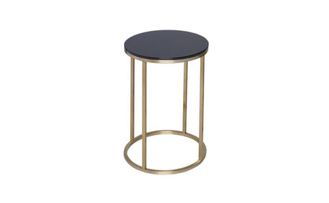 GillmoreSPACE Kensal Black Glass & Brass Circular Side Table