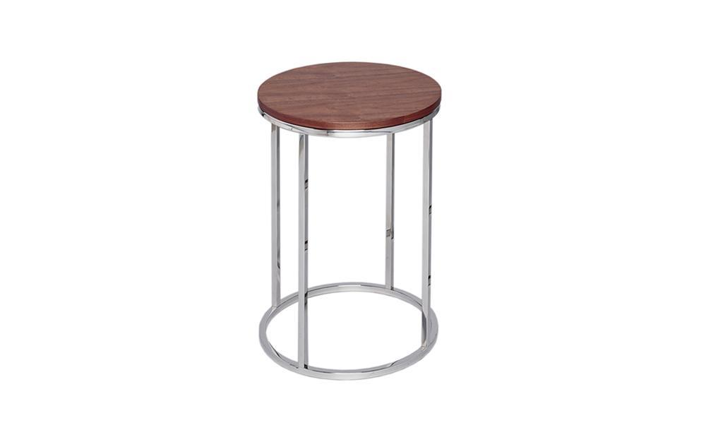 Kensal Walnut & Steel Circular Side Table
