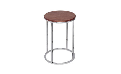 GillmoreSPACE Kensal Walnut & Steel Circular Side Table