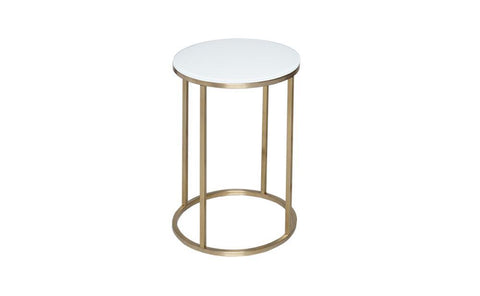 GillmoreSPACE Kensal White Glass & Brass Circular Side Table