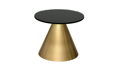 GillmoreSPACE Oscar Black Glass & Brass Circular Side Table