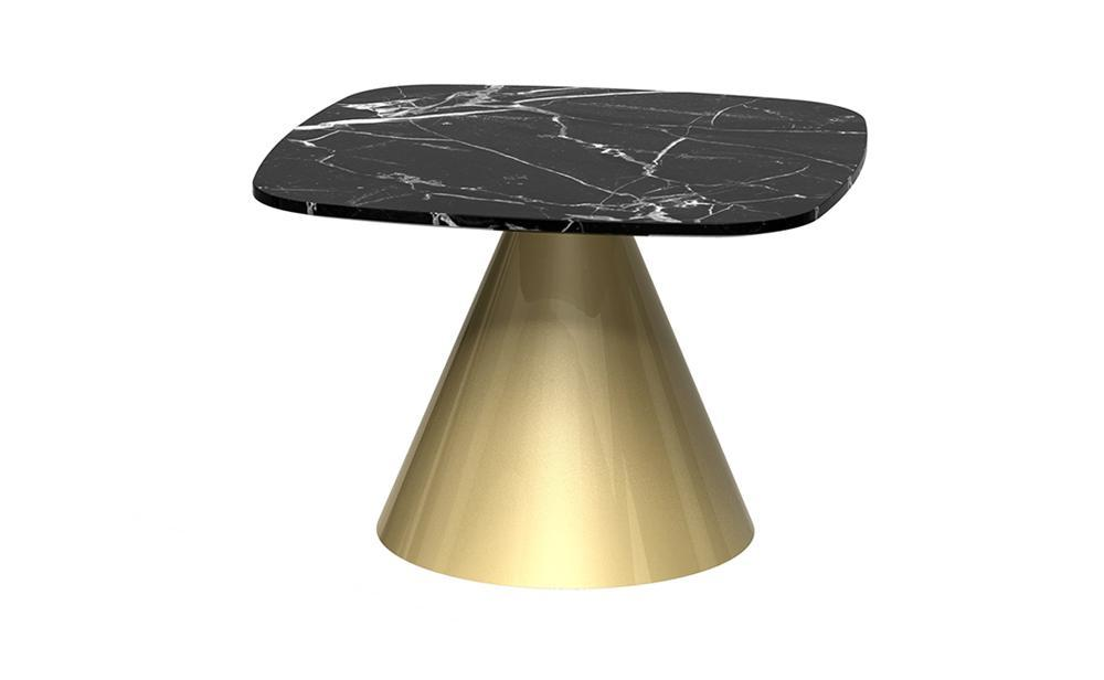 Oscar Black Marble & Brass Square Side Table