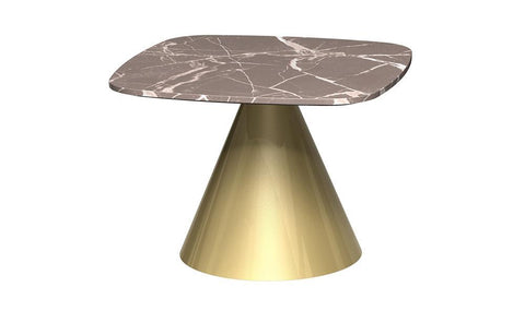 GillmoreSPACE Oscar Brown Marble & Brass Square Side Table