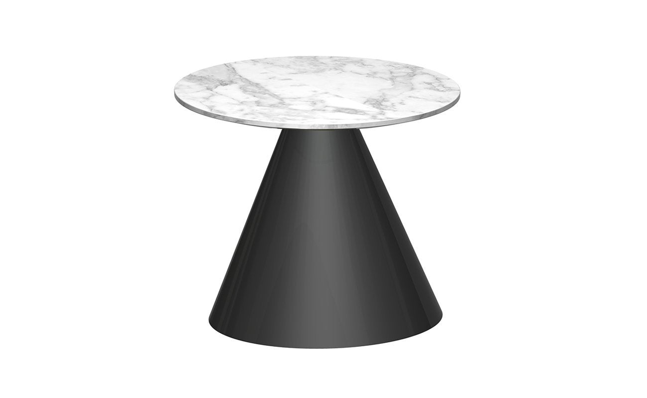 Oscar White Marble & Black Circular Side Table