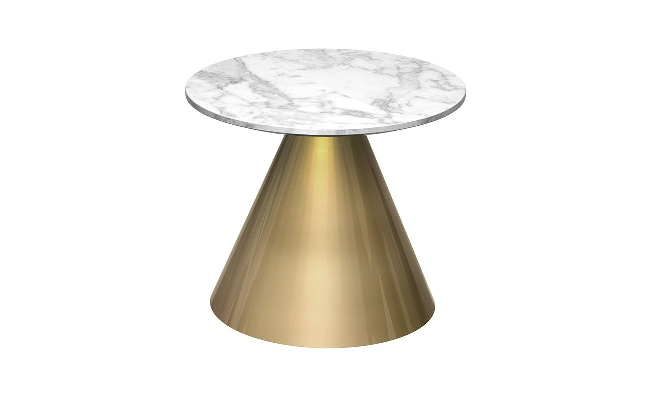 Oscar White Marble & Brass Circular Side Table