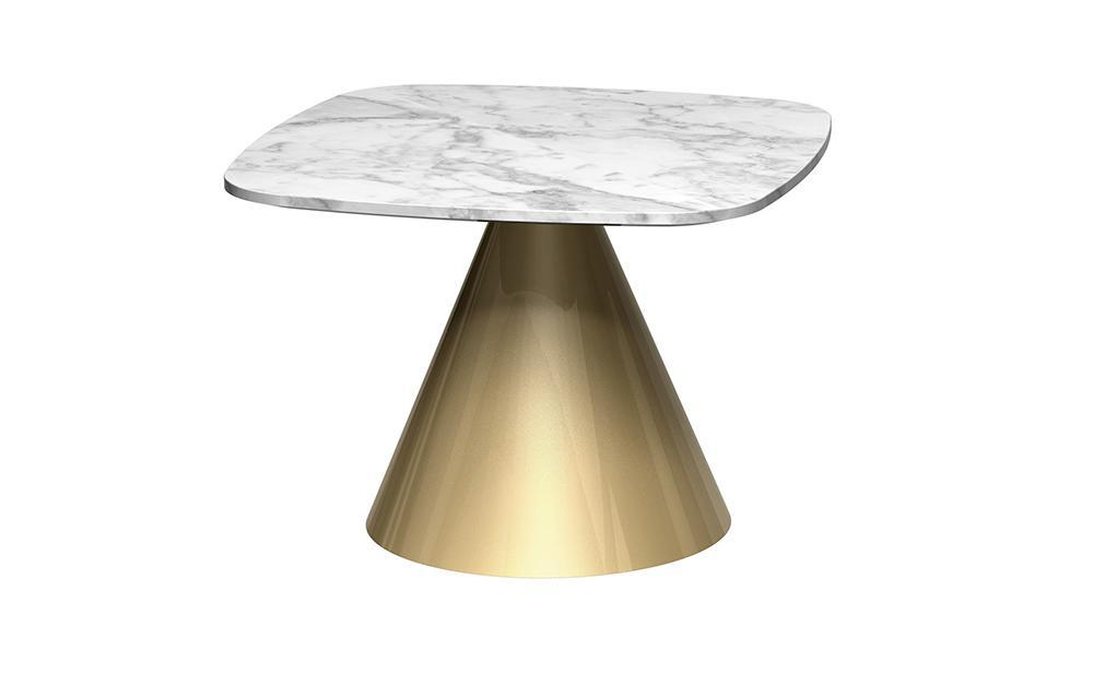 Oscar White Marble & Brass Square Side Table