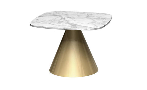 GillmoreSPACE Oscar White Marble & Brass Square Side Table