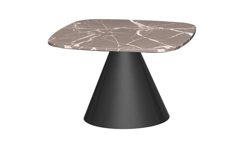 GillmoreSPACE Oscat Brown Marble & Matt Black Square Side Table