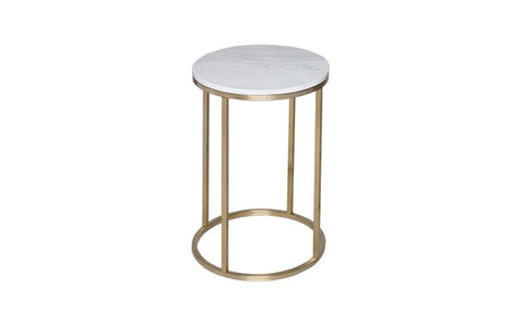 GillmoreSPACE Circular Side Table - Kensal MARBLE with BRASS base