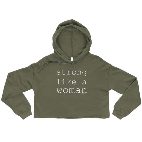 Strong Like A Woman Crop Hoodie