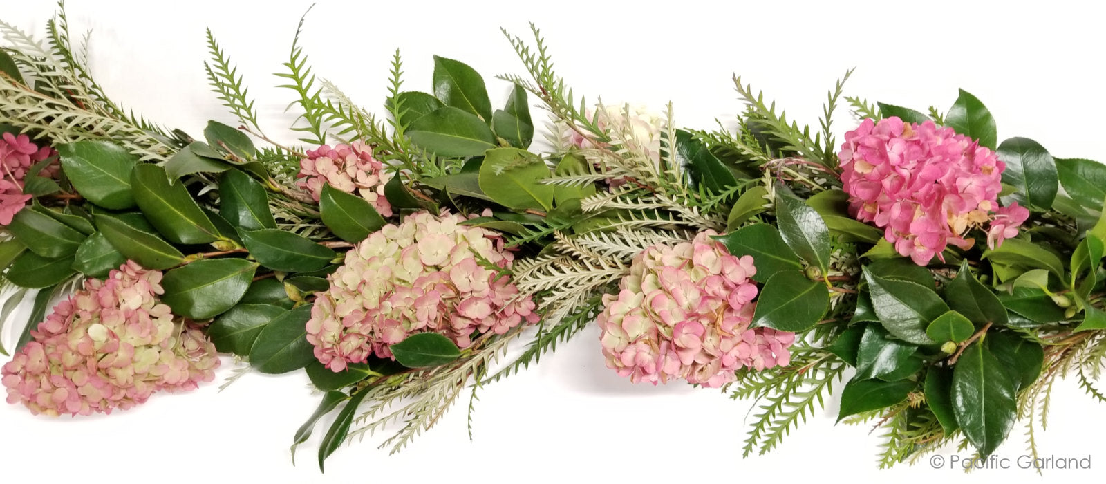 Stunning Hydrangea garland with Camellia and Grevillea