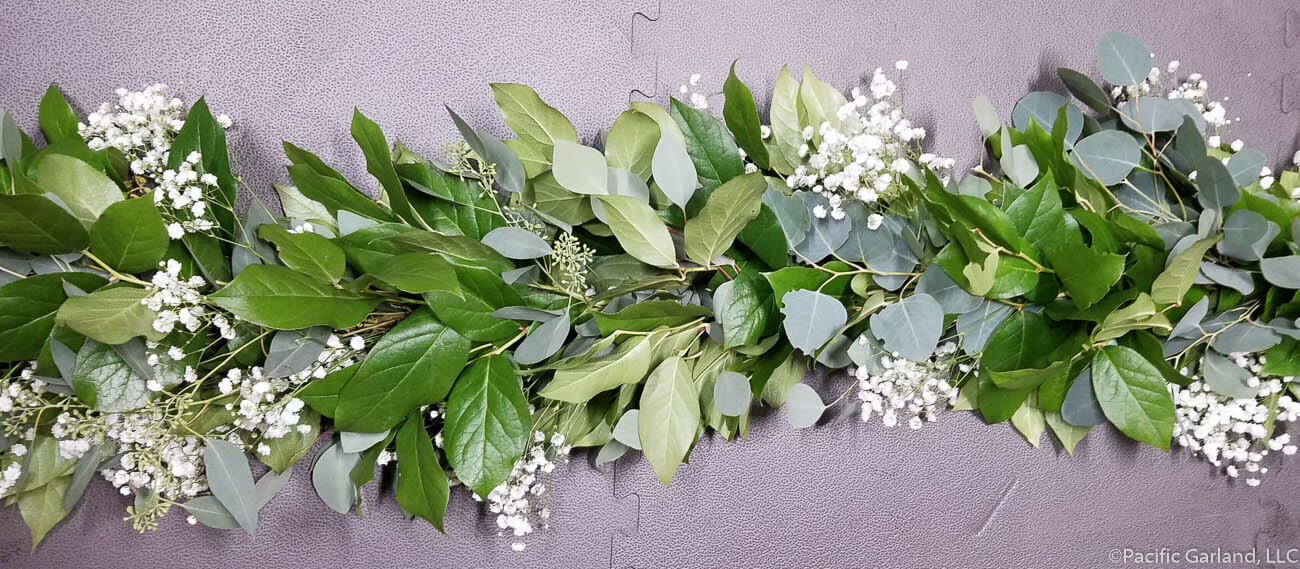 Babys Breath Salal Seeded Eucalyptus Garland