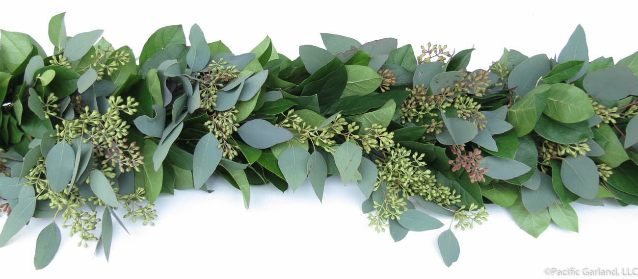 fresh salal seeded eucalyptus premium garland by pacific garland