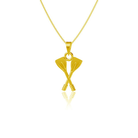 Crew Rowing Pendant Necklace - Gold Plated