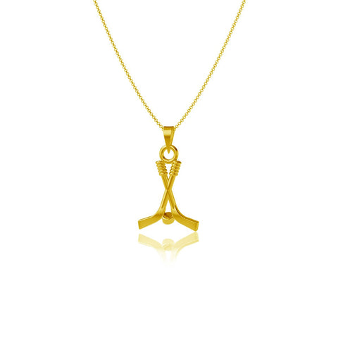 Hockey Pendant Necklace - Gold Plated