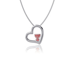 Texas Tech University Heart Necklace - Enamel