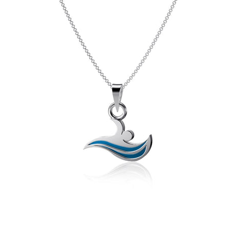 Swimming Pendant Necklace - Enamel