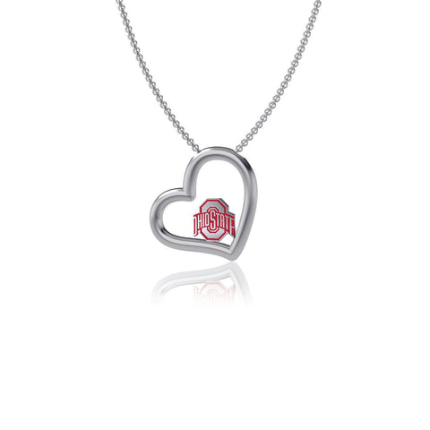 Ohio State University Heart Necklace - Enamel