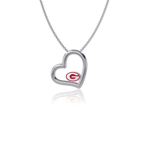University of Georgia Heart Necklace - Enamel