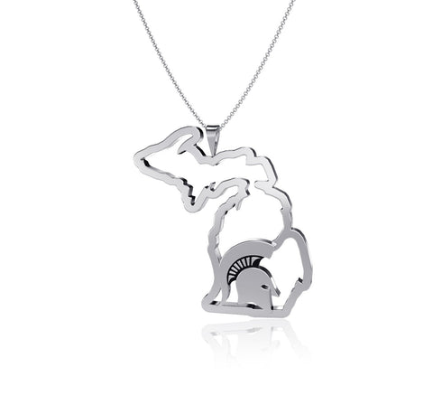 Michigan State University State Outline Necklace