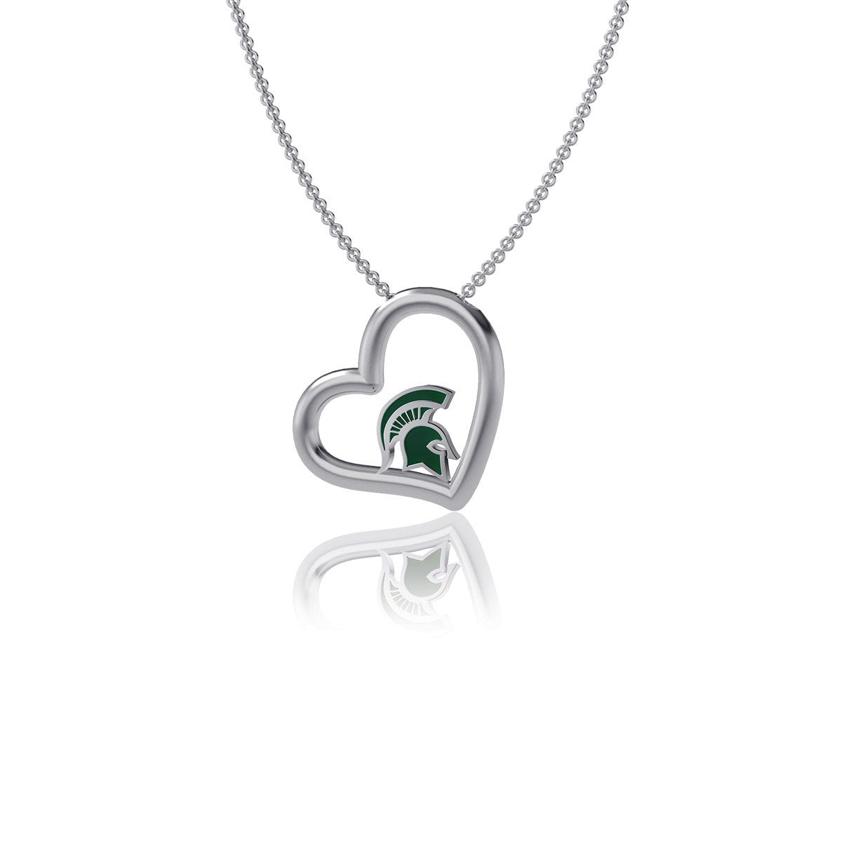 Michigan State University Heart Necklace - Enamel