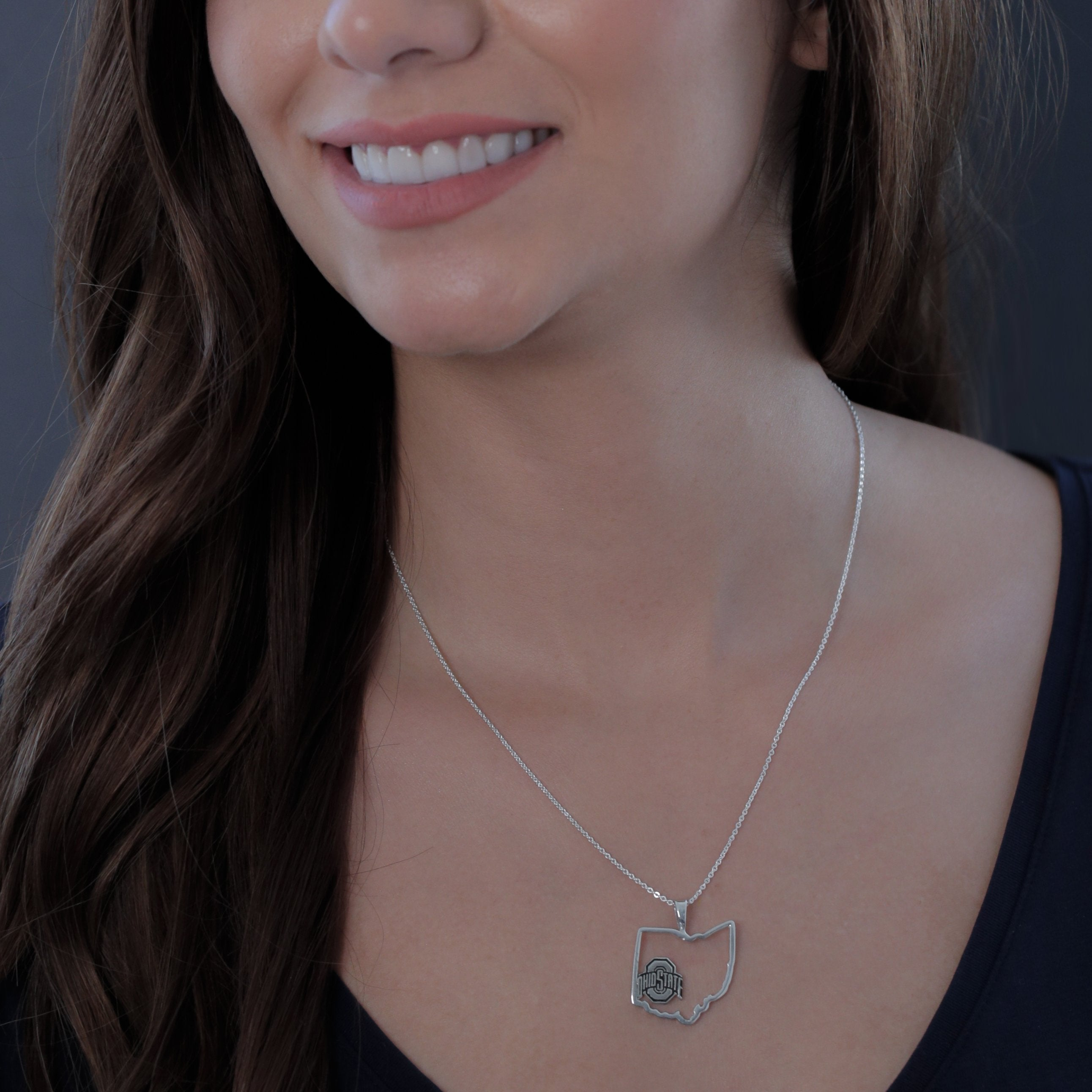 Ohio State University State Outline Necklace