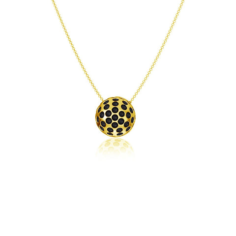 Golf Ball Pendant Necklace - Gold Plated