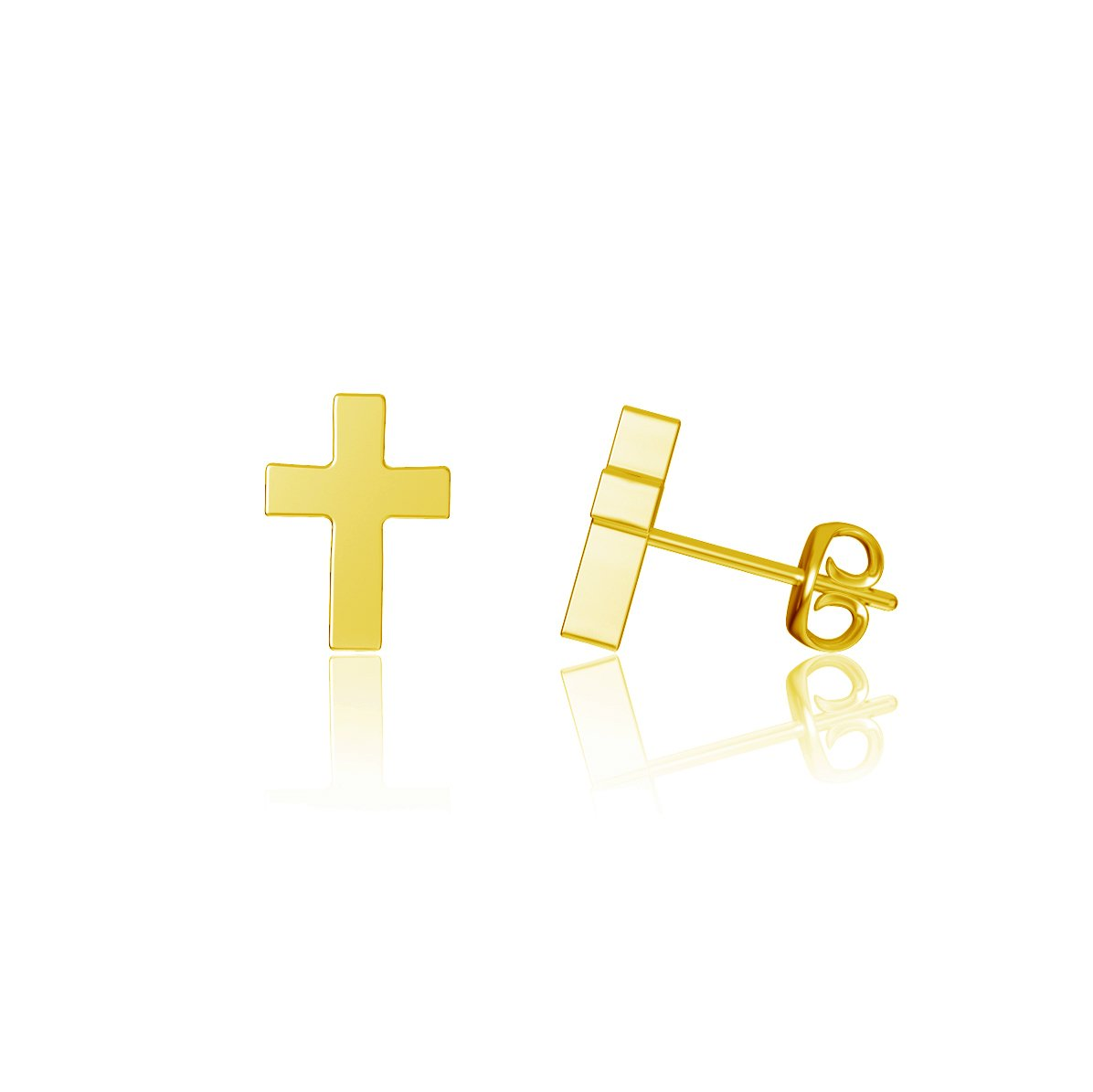 Cross Post Earrings - Gold Plated