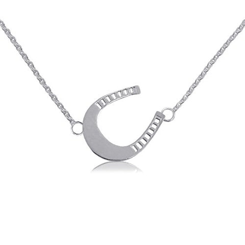 Horseshoe Silver Charm Necklace - Sterling Silver Jewelry by Dayna Designs. Small for Women/Girls