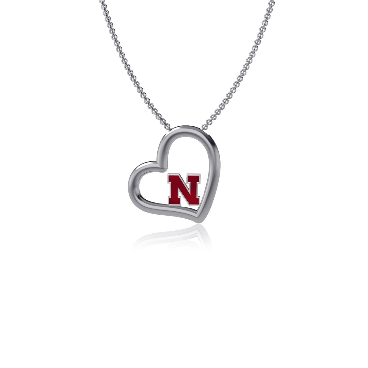 University of Nebraska Heart Necklace - Enamel
