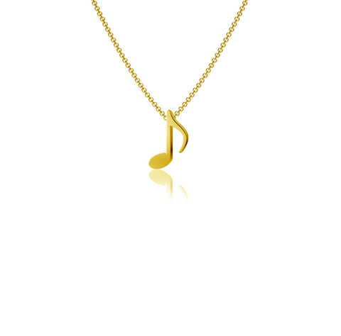 Music Note Pendant Necklace - Gold Plated
