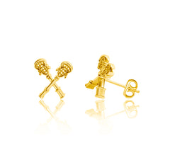 Lacrosse Sticks Post Earrings - Gold Plated
