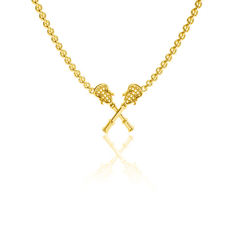 Lacrosse Sticks Pendant Necklace - Gold Plated