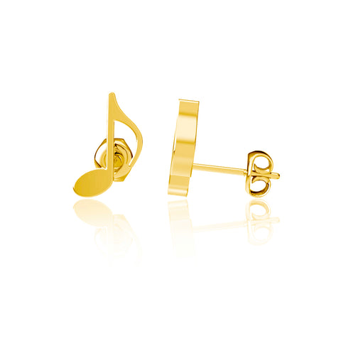 Music Note Post Earrings - Gold Plated
