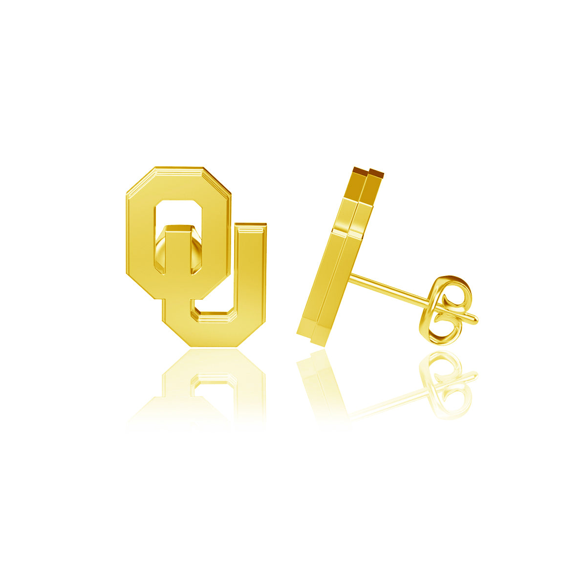 University of Oklahoma Post Earrings - Gold Plated