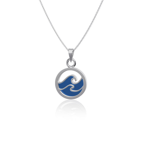 Wave Pendant Necklace - Enamel