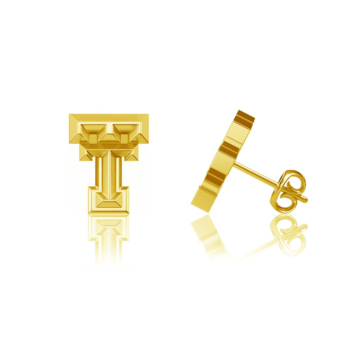 Texas Tech University Post Earrings - Gold Plated