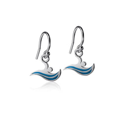 Swimming Dangle Earrings - Enamel