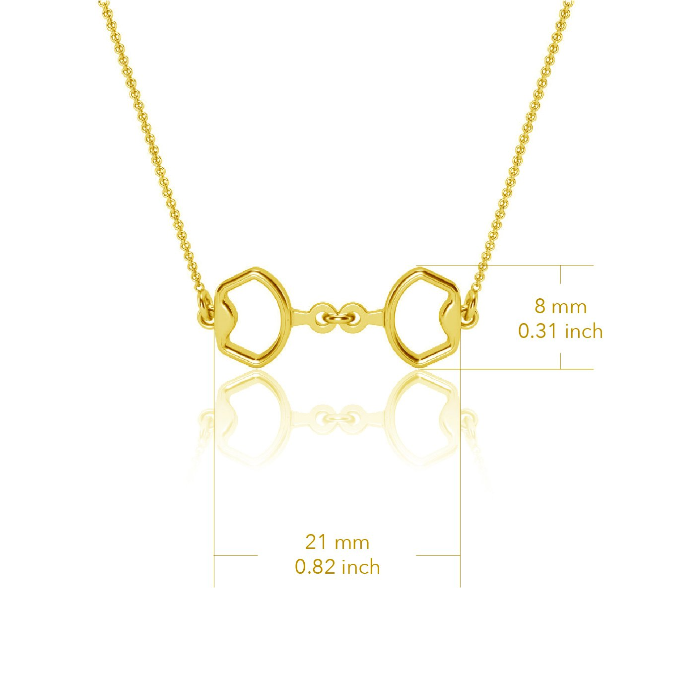 Horse Bit Equestrian Pendant Necklace - Gold Plated