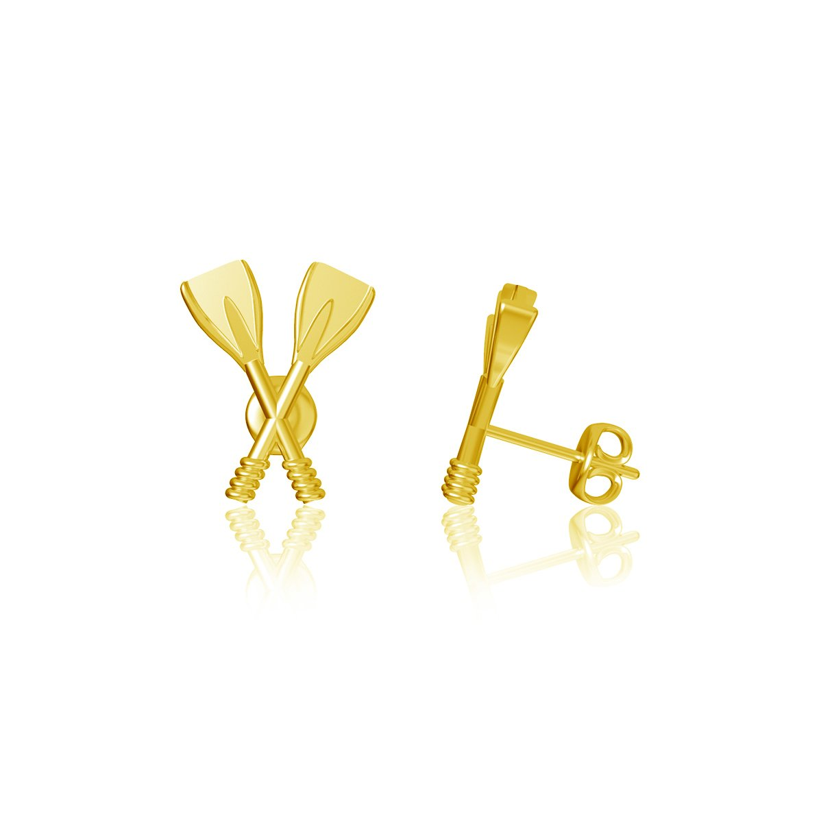Crew Rowing Post Earrings - Gold Plated