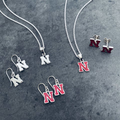 University of Nebraska Post Earrings