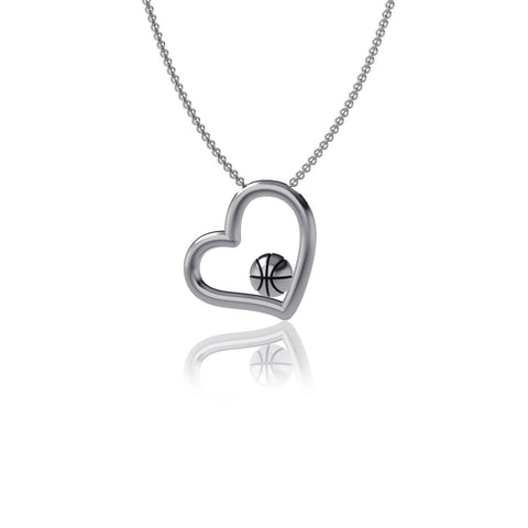 Basketball Heart Necklace