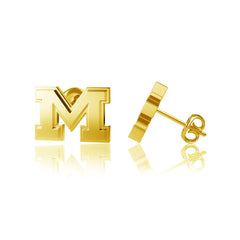 University of Michigan Post Earrings - Gold Plated