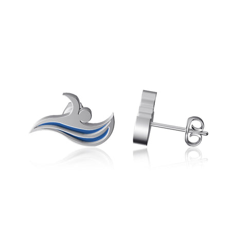 Swimming Post Earrings - Enamel
