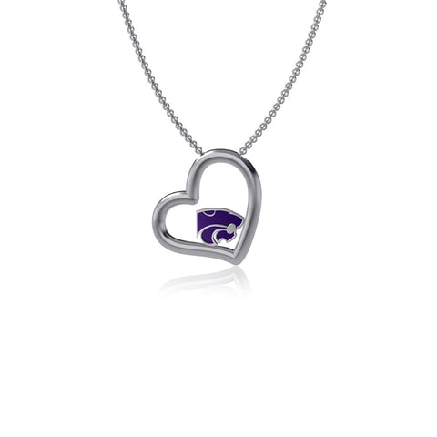 Kansas State University Heart Necklace - Enamel