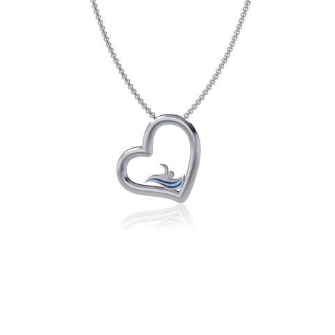 Swimming Heart Necklace - Enamel