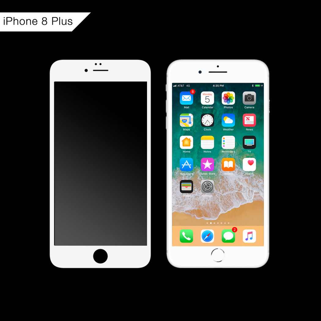 3D Curved Tempered Glass for iPhone 8 Plus (White)