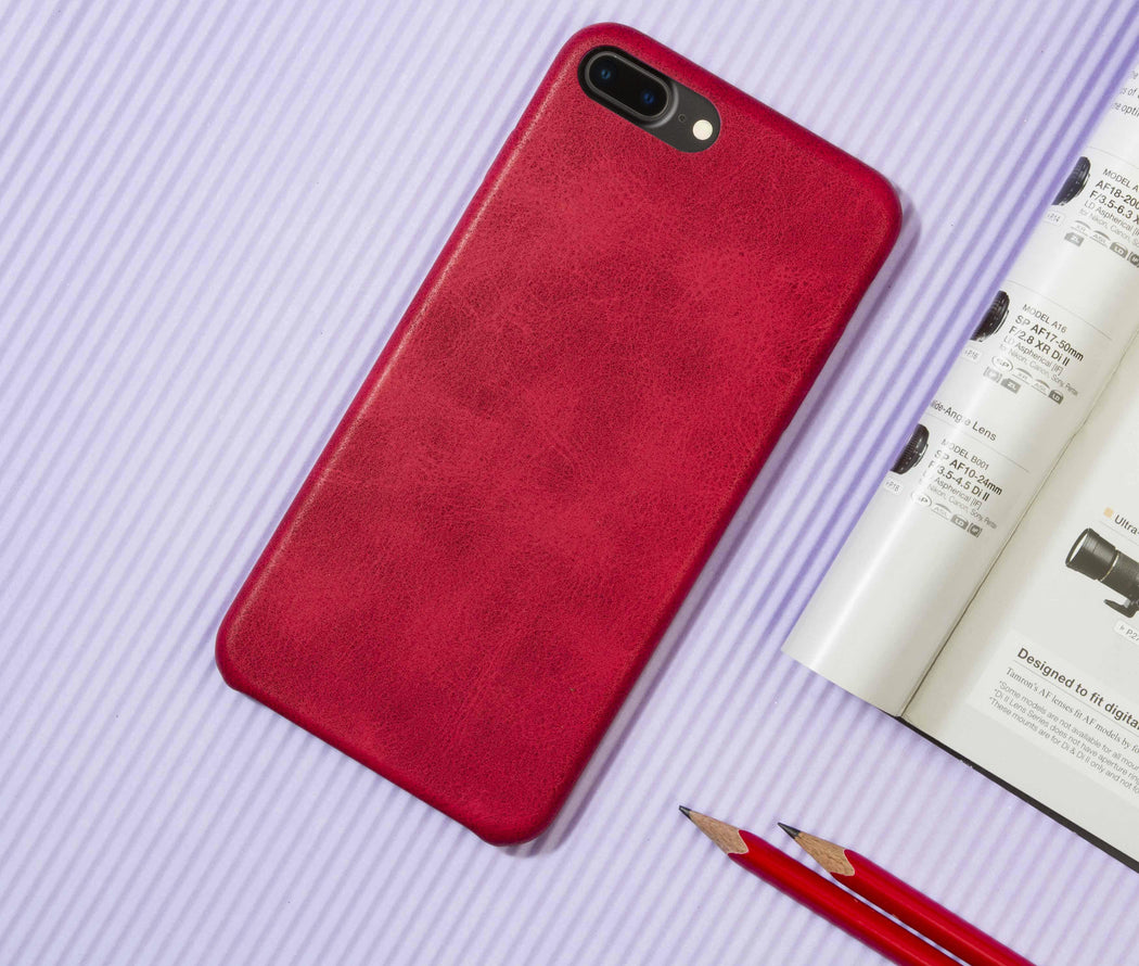 differently 3f518 89e28 Red Leather Case - iPhone 7 Plus