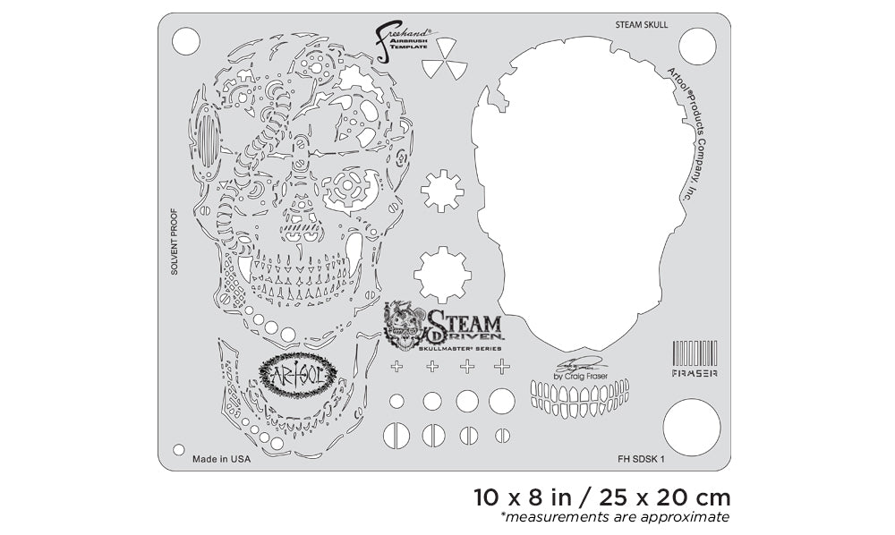 Artool Steam Driven Steam SkullFreehand Airbrush Template by Craig Fraser